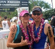 Mark and Molly Bockmann at the finish of the Xterra World Championships